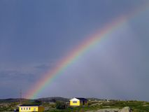 Rainbow over Peggy's Cove Royalty Free Stock Image