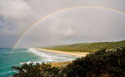 Rainbow over Point Lookout. A storm approaching Point Lookout on North Stradbroke Island off Queensland, Australia, resulting in this rainbow Royalty Free Stock Photography