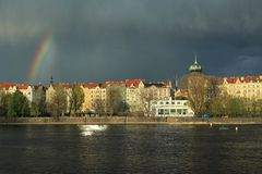 Rainbow over Prague Stock Images
