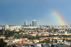 Rainbow over Prague Stock Photo