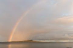Rainbow over Rangitoto Island Stock Photos