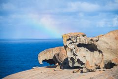 Rainbow over the Remarkable Rocks of Kangaroo Island, South Australia. Kangaroo Island, a wildlife paradise, lies in the Southern Ocean, some way off the coast stock image