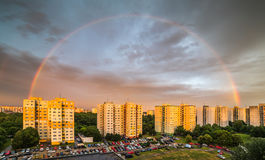 Rainbow over Residential District. Rainbow at Sunset over Residential District Petrzalka, Bratislava, Slovakia Royalty Free Stock Image