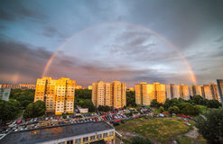 Rainbow over Residential District. Rainbow at Sunset over Residential District Petrzalka, Bratislava, Slovakia Royalty Free Stock Photography