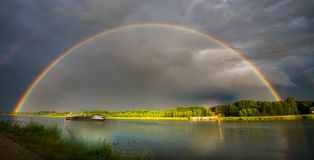 Rainbow over the Rhine River Royalty Free Stock Images