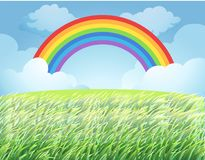 A Rainbow Over Rice Paddy. Illustration royalty free illustration