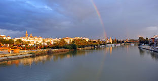 Rainbow over the River Guadalquivir as it passes through Seville, Spain Royalty Free Stock Photography