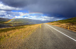 Rainbow over the road Royalty Free Stock Photography