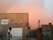 Rainbow over Rocky stock photos