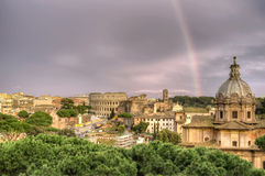 Rainbow over Rome Stock Photo