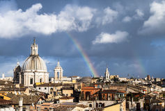Rainbow over the roofs of Rome Royalty Free Stock Photography