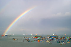 Rainbow over the sea Stock Image