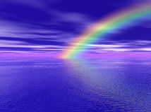 Rainbow over the Sea. Illustration of rainbow over the sea stock illustration