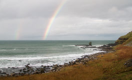 Rainbow Over the Sea at the Giant's Causeway, Northern Ireland Royalty Free Stock Photos