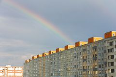 Rainbow Over Settlement Royalty Free Stock Image