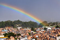 Rainbow over slum, Sao Paulo, Brazil Royalty Free Stock Image