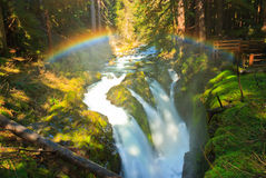 Rainbow over Sol Duc Falls, Olympic National Park Stock Photos