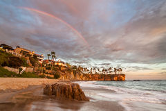 Rainbow over Southern Californian Beach Stock Photo