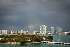 Rainbow over Star Island in Miami. Rainbow over South Miami beach and Star Island royalty free stock photo