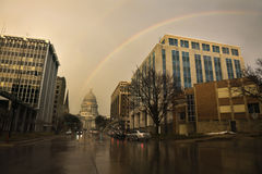 Rainbow over State Capitol Building Royalty Free Stock Photo