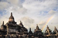 Rainbow over Stupa Buddist temple Borobudur complex in Yogjakart Royalty Free Stock Photography