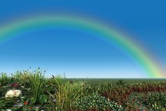 Rainbow Over Summer Garden Royalty Free Stock Photography