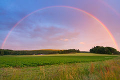 Rainbow over Swedish field Royalty Free Stock Image