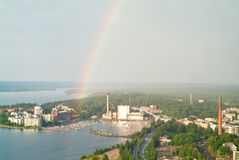 Rainbow over Tampere harbour Stock Photo