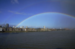 Rainbow over Thames. In London residencial area Royalty Free Stock Photography