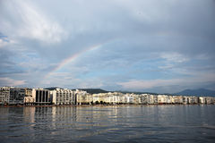 Rainbow over Thessaloniki stock image