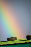Rainbow over the tin roof Stock Photo