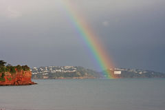 Rainbow over Torbay Stock Photo