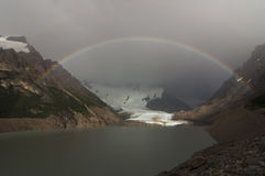 Rainbow over torre lake and glacier. Los Glaciares National Park, Patagonia, Argentina, South America Stock Photos