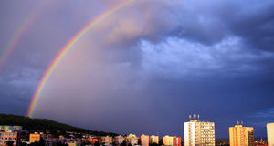 Rainbow over the town Litoměřice Stock Images