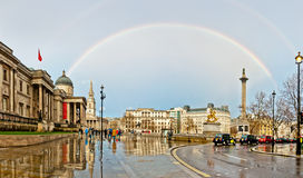 Rainbow over Trafalgar Square in London Stock Photography