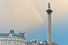 Rainbow over Trafalgar Square in London Stock Image