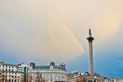 Rainbow over Trafalgar Square in London Royalty Free Stock Photos