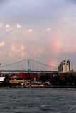 Rainbow over Triborough Bridge and East River Stock Image