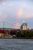 Rainbow over Triborough Bridge and East River Royalty Free Stock Photos