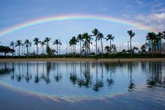 Rainbow over tropical palm trees and blue sky at the blue lagoon near Waikiki Beach, Honolulu, Hawaii Stock Photos