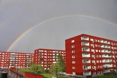 Rainbow over Varvet in Luleå Stock Image