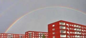 Rainbow over Varvet in Luleå Stock Photo