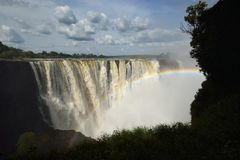 Rainbow over Victoria Falls stock photos