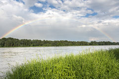 Rainbow over Vistula river in Warsaw Royalty Free Stock Photos