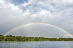 Rainbow over Vistula river in Warsaw Royalty Free Stock Images