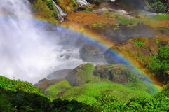 Rainbow over Wachiratarn Waterfall Stock Images
