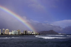 Rainbow over Waikiki stock photo