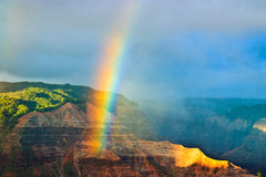 Rainbow Over Waimea Canyon, Kauai Royalty Free Stock Photos
