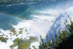 Rainbow over waterfall. American Niagara Fall with Rainbow Stock Photos