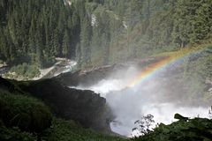 Rainbow over waterfall Royalty Free Stock Images
